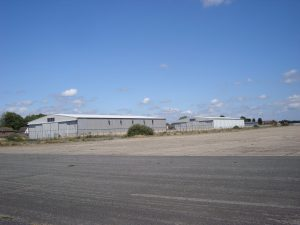 Three hangars on the airfield